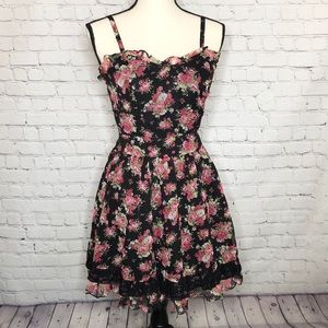 TRIPP NYC  by Daang Goodman blk/pink floral dress